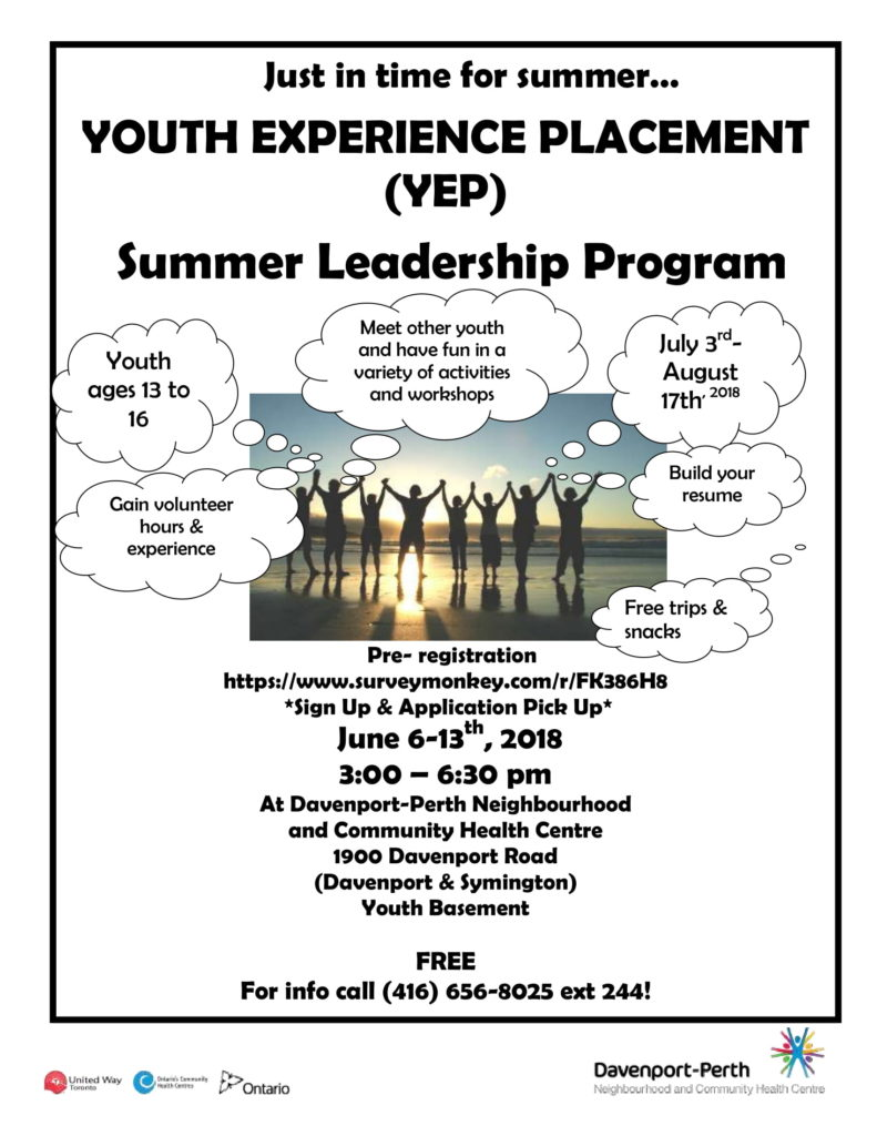 Youth Experience Placement Flyer 2018