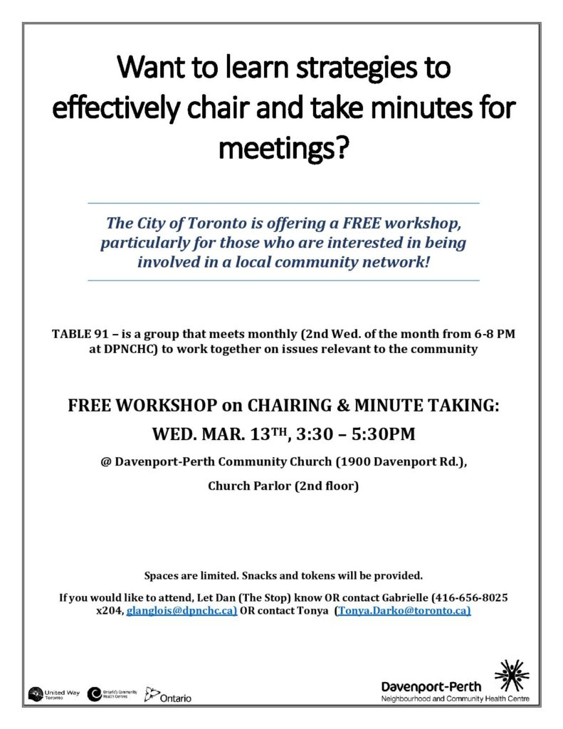 Flyer_Table 91 Chair & Minute Taking Workshop_Mar. 13, 2019